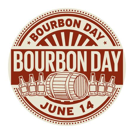 Bourbon Day, June 14, rubber stamp, vector Illustration Stock Illustratie