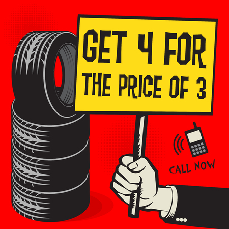 Vintage tire service or garage poster with text Get 4 For the Price of 3, vector illustration