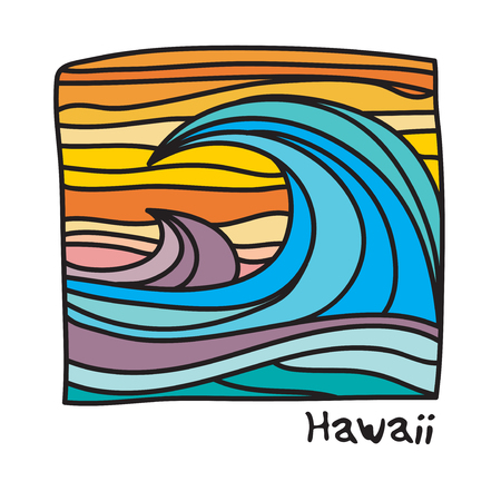 Ocean waves for surfer poster or t-shirt graphics.