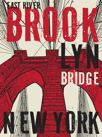 Brooklyn bridge, New York city, silhouette illustration in flat design, t-shirt print design or poster, vector illustration Vectores
