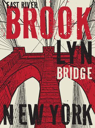 Brooklyn bridge, New York city, silhouette illustration in flat design, t-shirt print design or poster, vector illustration Illustration