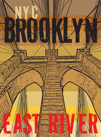 Brooklyn bridge, New York city, silhouette illustration in flat design, t-shirt print design or poster, vector illustration 矢量图像