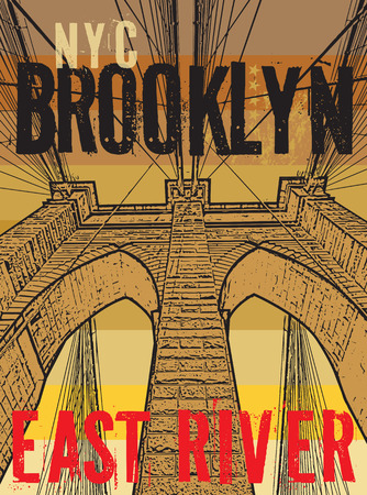 Brooklyn bridge, New York city, silhouette illustration in flat design, t-shirt print design or poster, vector illustration Vettoriali