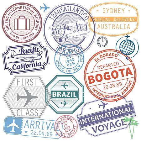 Retro postage airport stamps set International travel theme, vector illustration