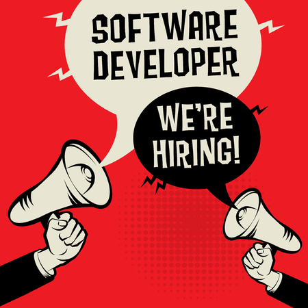 Megaphone Hands business concept with text Software Developer- Were Hiring, vector illustration