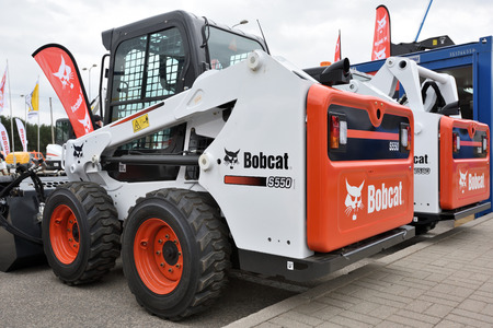 Vilnius, Lithuania - April 25: Bobcat heavy duty equipment vehicle and on April 25, 2018 in Vilnius Lithuania. Bobcat Company is an American-based manufacturer of farm and construction equipment.