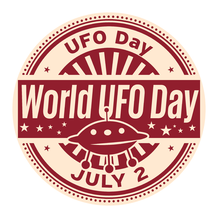 World UFO Day July 2, rubber stamp vector Illustration. Vectores