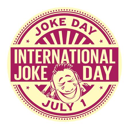 International Joke Day, July 1 rubber stamp vector Illustration