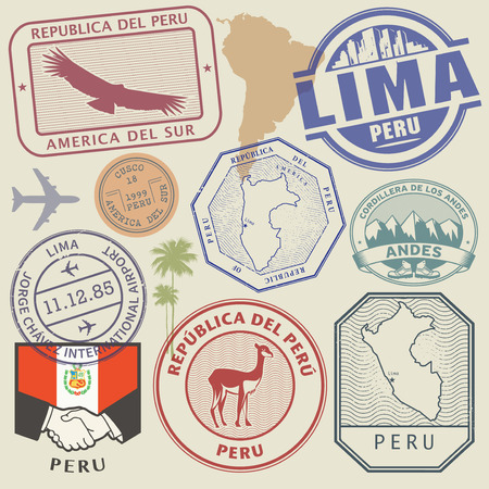 Travel stamps or symbols set Peru, South America theme, vector illustration