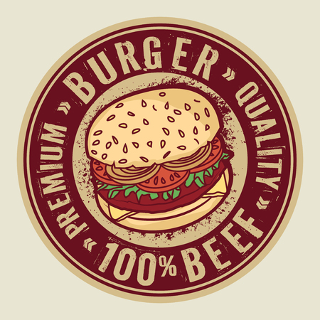 Abstract stamp or label with big burger and text Burger, Premium Quality, 100 percent Beef, inside, vector illustration Vettoriali