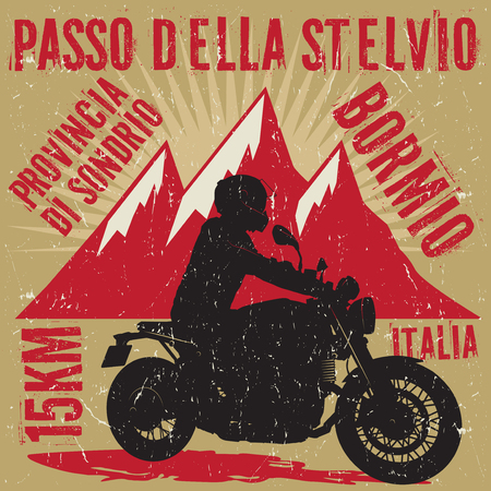 Biker riding a motorcycle, poster with road name - Passo Della Stelvio, Italia, Bromio. Bikers event or festival emblem. Vector illustration