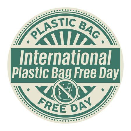 Día internacional sin bolsas de plástico, 3 de julio, sello de goma, ilustración vectorial