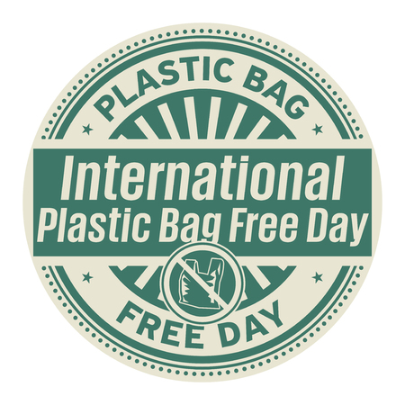 International Plastic Bag Free Day,  July 3, rubber stamp, vector Illustration Ilustração