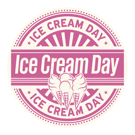 Ice Cream Day, rubber stamp, vector Illustration Vectores