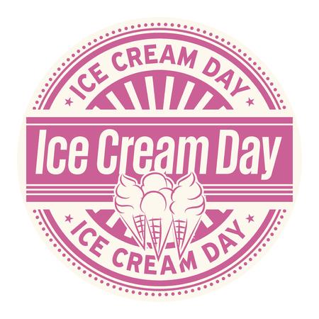 Día del helado, sello de goma, ilustración vectorial