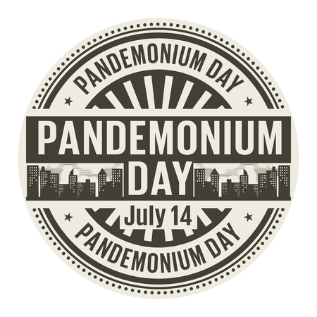 Pandemonium Day,  July 14, rubber stamp, vector Illustration