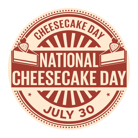 National Cheesecake Day,  July 30, rubber stamp, vector Illustration