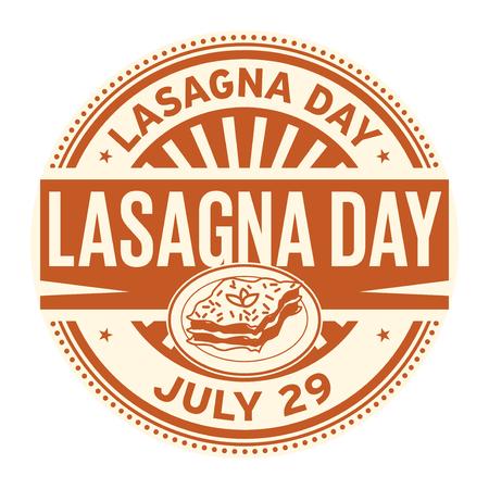 Lasagna Day,  July 29, rubber stamp, vector Illustration Ilustração