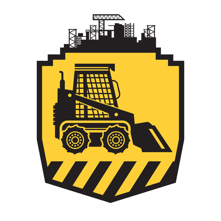 Tractor icon or sign on yellow background. Tractor grader bulldozer silhouette vector illustration