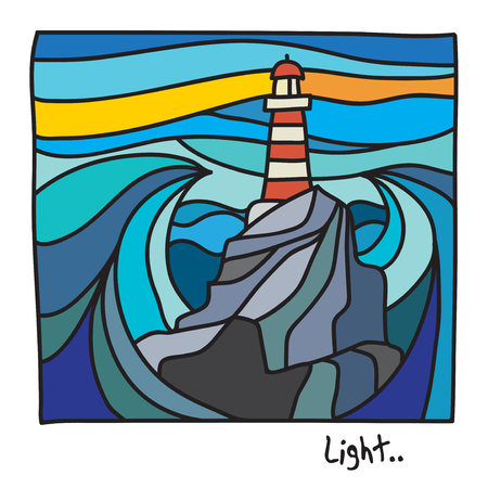 Beach, Vacation or Lighthouse poster or t-shirt graphics. Vector illustration