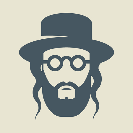 Jew with a hat, sign or symbol, vector illustration