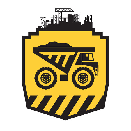 Dump truck sign or symbol, vector illustration