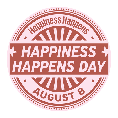 Happiness Happens Day, August 8, rubber stamp, vector Illustration Иллюстрация