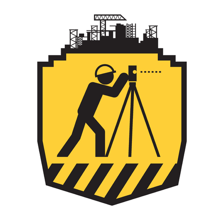 Land surveyor icon or sign, vector illustration Stock Illustratie
