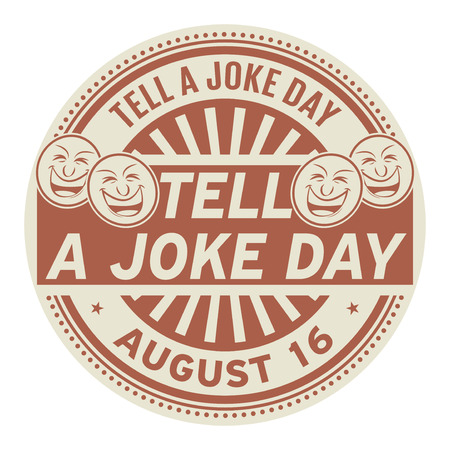 Dites une journée de blague, 16 août, tampon en caoutchouc, illustration vectorielle