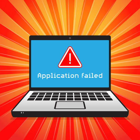 Computer bad software failure on screen, text Application failed, vector illustration Illustration