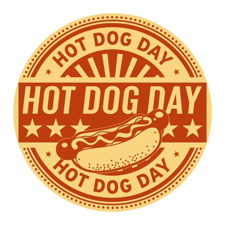 Hot Dog Day, rubber stamp, vector Illustration