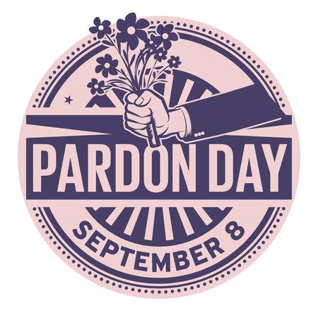 Pardon Day, 8 settembre, timbro di gomma, illustrazione vettoriale