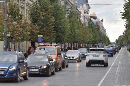 Vilnius, Lithuania - August 21: traffic in Vilnius Old Town on August 21, 2018 in Vilnius Lithuania. Vilnius is the capital of Lithuania and its largest city. Redakční