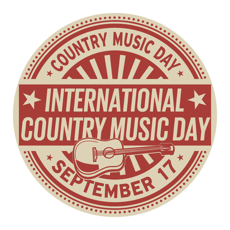 International Country Music Day, September 17, rubber stamp, vector Illustration Illustration