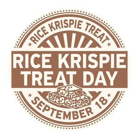 Rice Krispie Treat Day, September 18, rubber stamp, vector Illustration