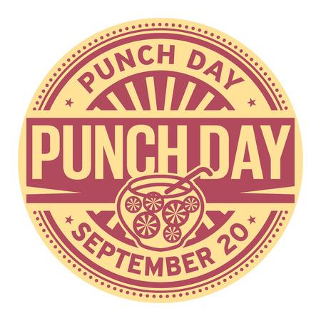 Punch Day, September 20, rubber stamp, vector Illustration Ilustración de vector