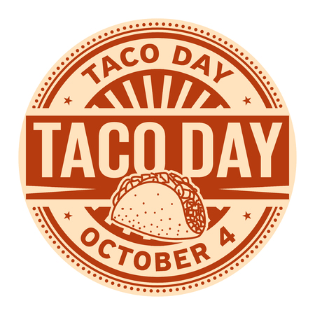 Taco Day, October 4, rubber stamp, vector Illustration