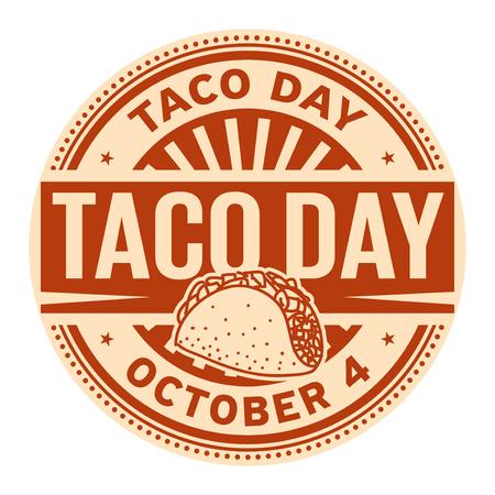 Taco Day, 4 de octubre, sello de goma, ilustración vectorial