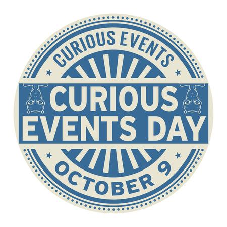 Tag der kuriosen Ereignisse, 9. Oktober, Stempel, Vektorillustration Vektorgrafik