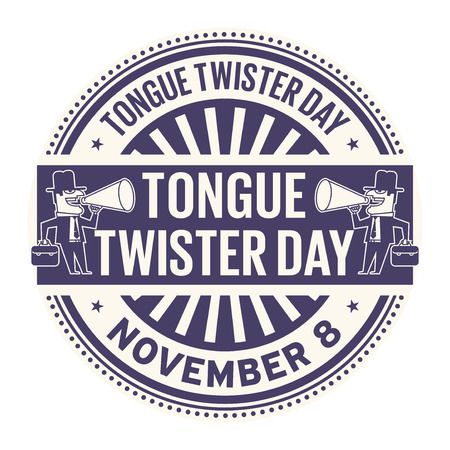 Tongue Twister Day, November 8, rubber stamp, vector Illustration