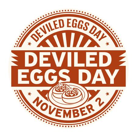 Deviled Eggs Day, November 2, rubber stamp, vector Illustration Ilustracja
