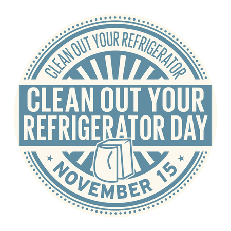 Clean Out Your Refrigerator Day, November 15, rubber stamp, vector Illustration