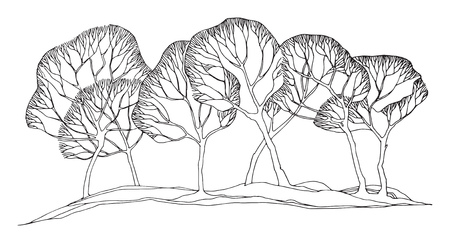 Albero invernale disegnato a mano, illustrazione vettoriale Vettoriali