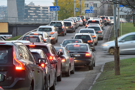 Vilnius, Lithuania, October 31: Traffic jam, cars on highway road on October 31, 2018 in Vilnius, Lithuania. Vilnius is the capital of Lithuania and its largest city.
