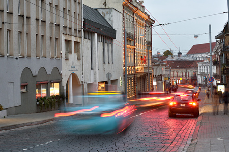 Vilnius, Lithuania, November 02: Traffic on street of old town on November 02, 2018 in Vilnius, Lithuania. Vilnius is the capital of Lithuania and its largest city.