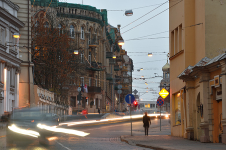 Vilnius, Lithuania, November 02: Vilnius old town on November 02, 2018 in Vilnius, Lithuania. The Old Town of Vilnius one of the largest surviving medieval old towns in Northern Europe Editorial