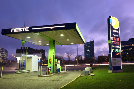 Vilnius, Lithuania - October 31: Neste Oil logotype on a Neste fuel station on October 31, 2018 in Vilnius Lithuania. Neste Oyj is an oil refining and marketing company. Editorial