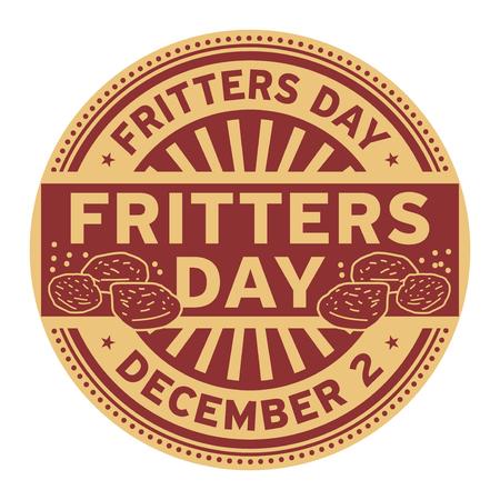 Fritters Day, December 2, rubber stamp, vector Illustration Векторная Иллюстрация