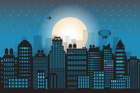 City megapolis skyline at night, vector illustration
