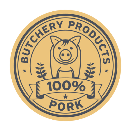 Pig Farm animal livestock, pork label or butchery sign, vector illustration